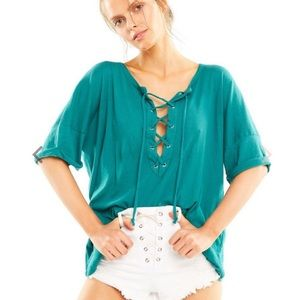 NWT Wildfox Maxwell Lace-Up Shirt Top Teal Small